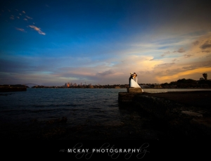 sunset wedding photo clarkes point reserve