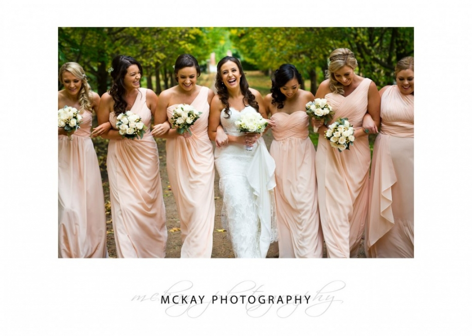 Bridal party autumn leaves Bowral