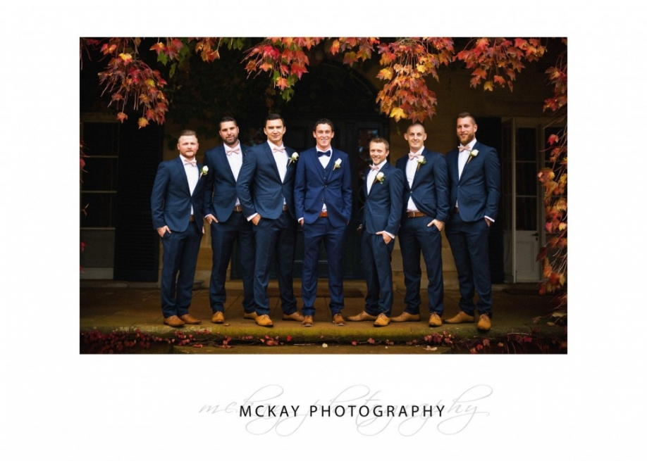 Bridal party at Bendooley Estate autumn leaves