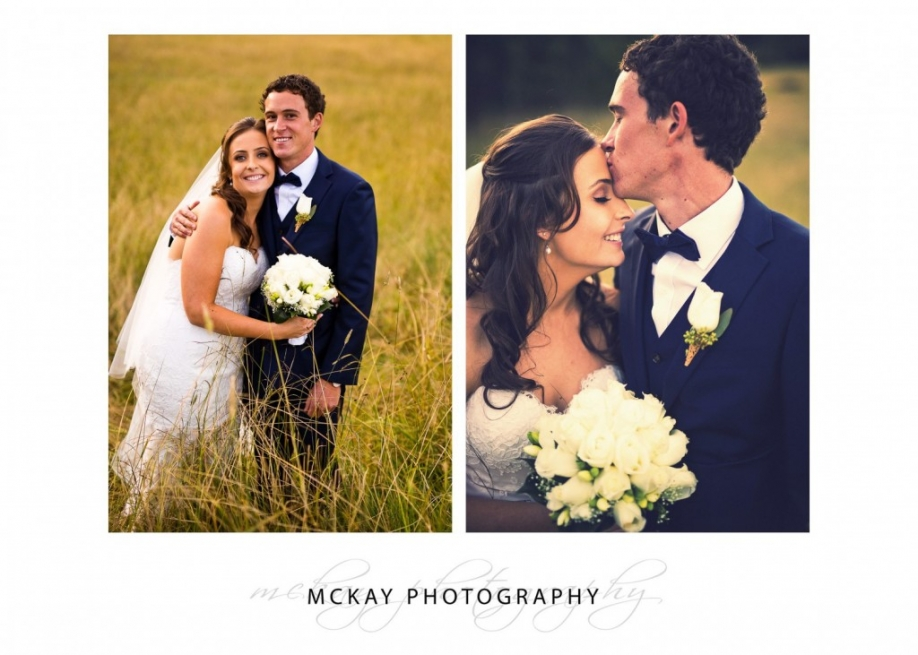 Bride & groom in long grass Bowral