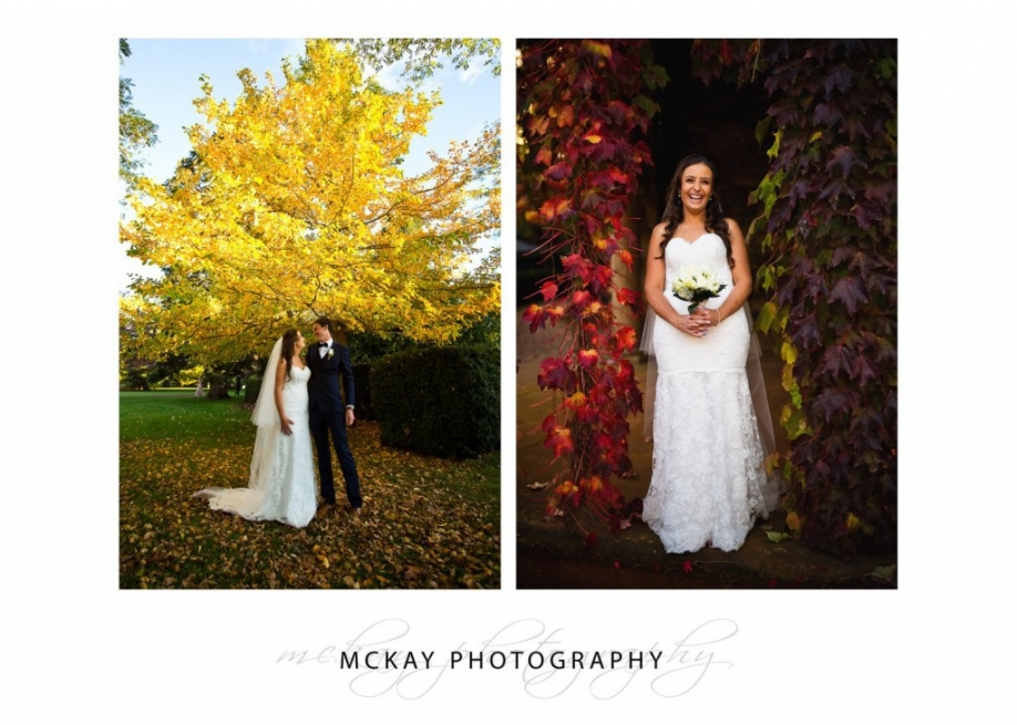 Bride photo Bendooley wedding autumn colour