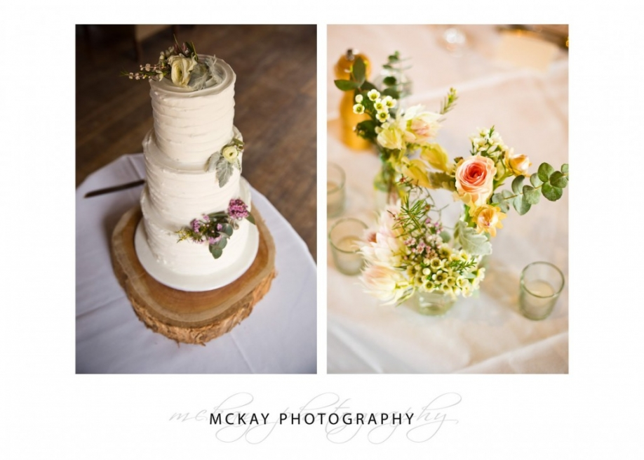 Wedding cake and table flowers