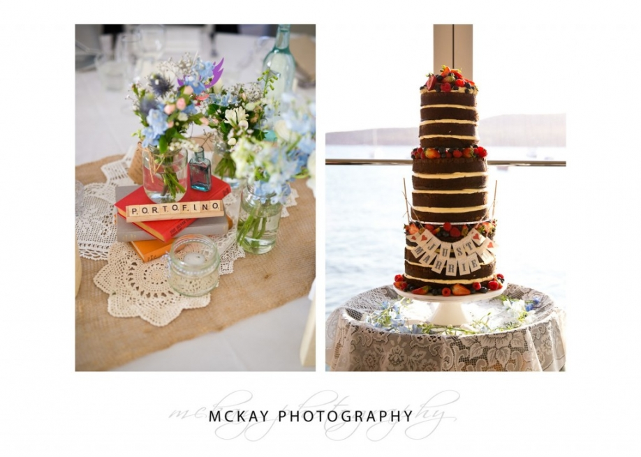 Wedding reception details cake and tables