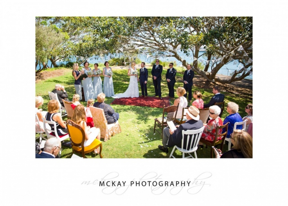 Wedding ceremony set up at Little Manly Point