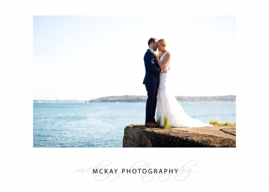 Bride and groom Little Manly Point wedding photo
