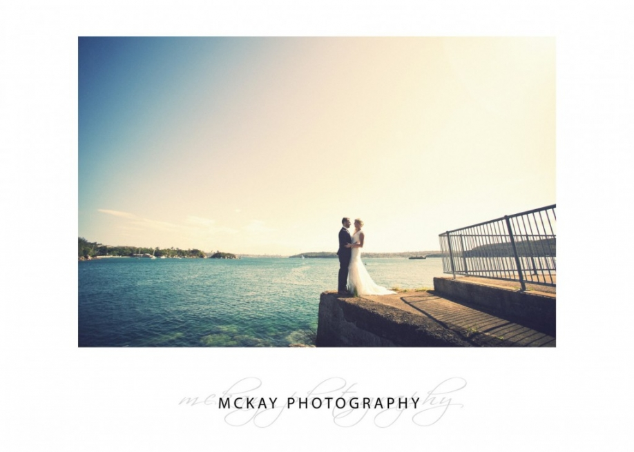 Bride and groom Little Manly Point Sydney Harbour wedding photo