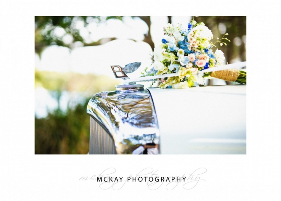 Car and wedding flowers detail Japonica Collaroy