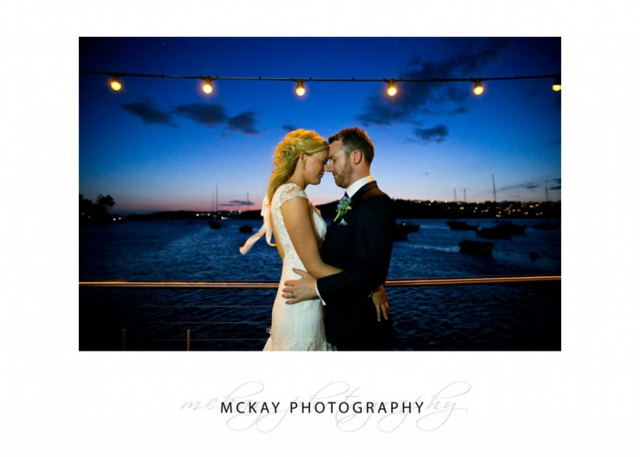 Night wedding photo at Manly Skiff Club