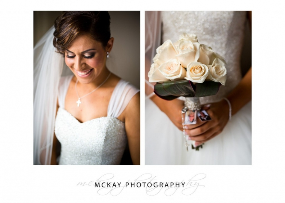 Mary portrait and flower bride bouquet detail