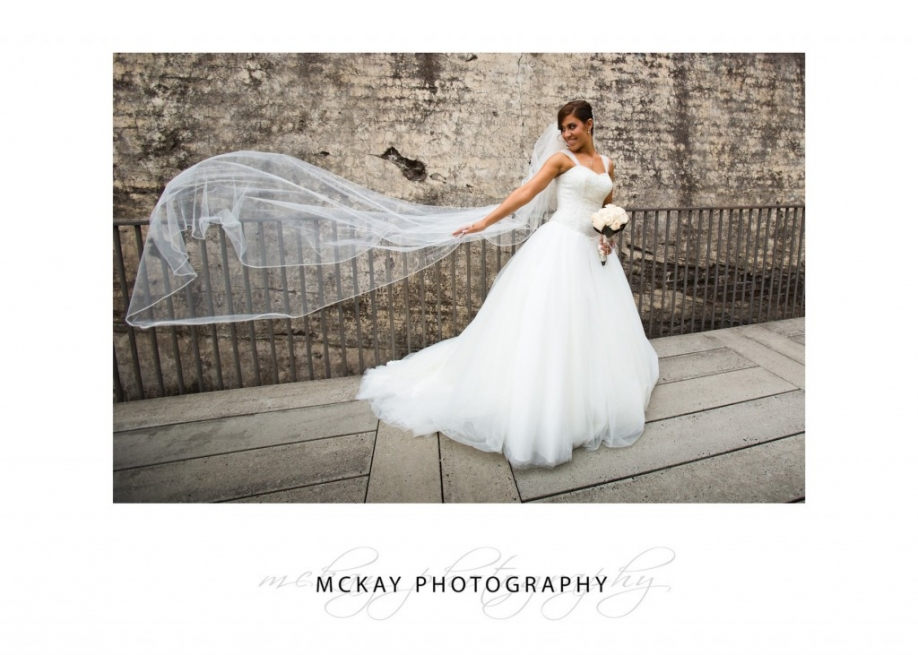 Mary bride flying veil photo