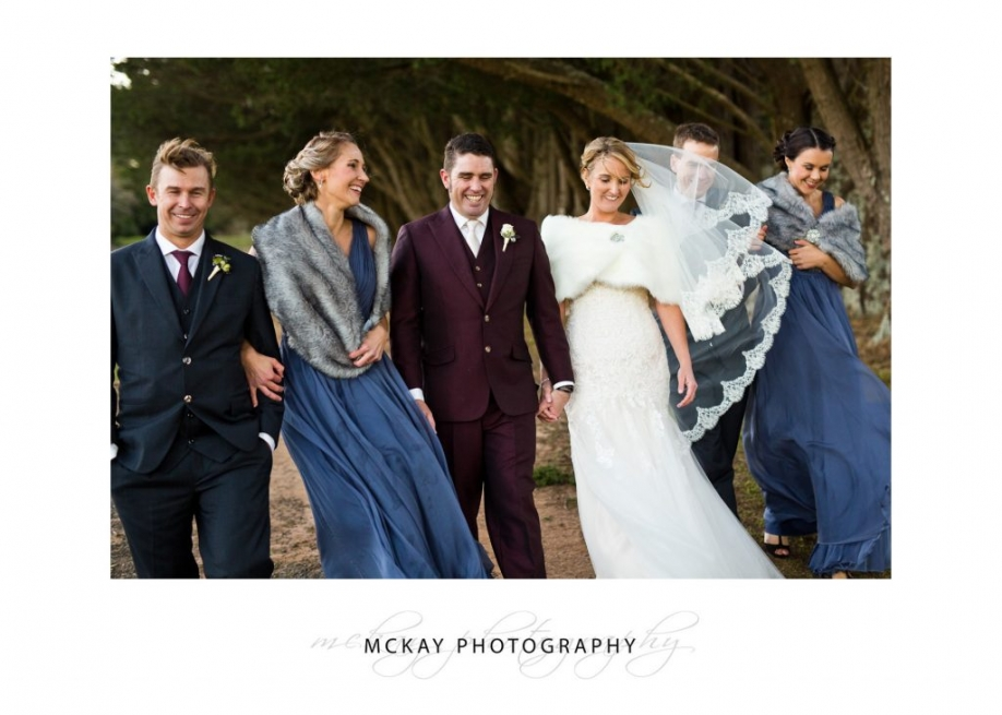 Bridal party braving the cold winter wind