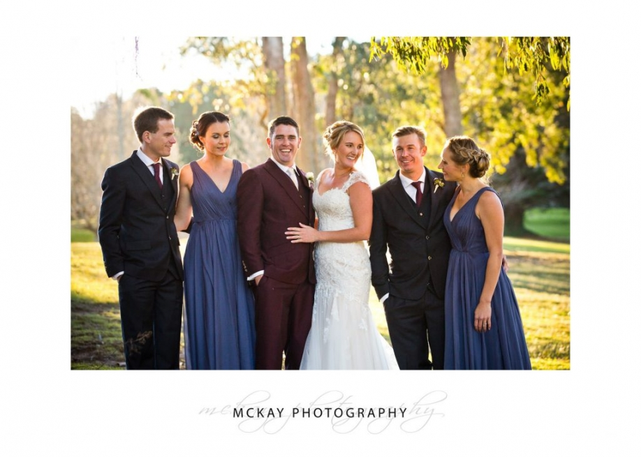 Bridal party in late afternoon sun at Gibraltar Hotel