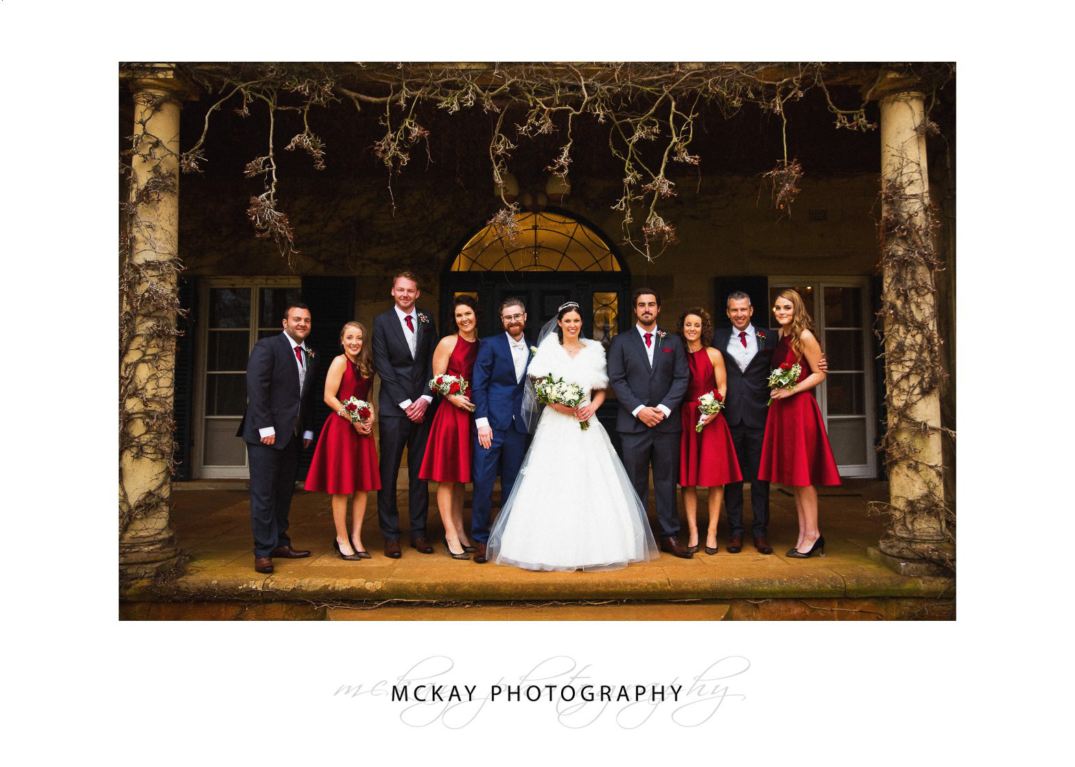 Bridal party photo at the old Bendooley Homestead