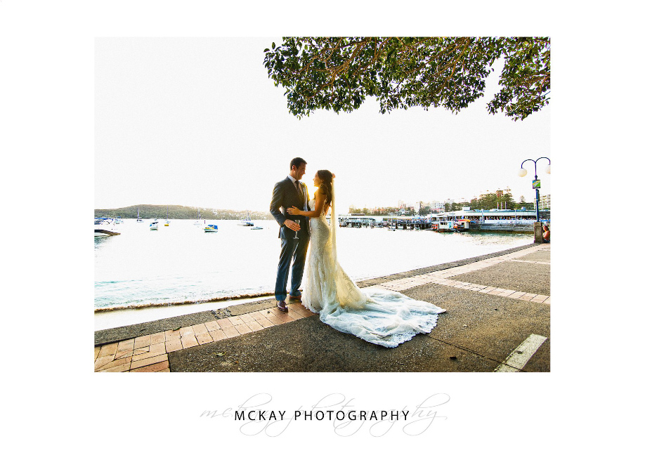 Manly Cove wedding photo backlit sunlight