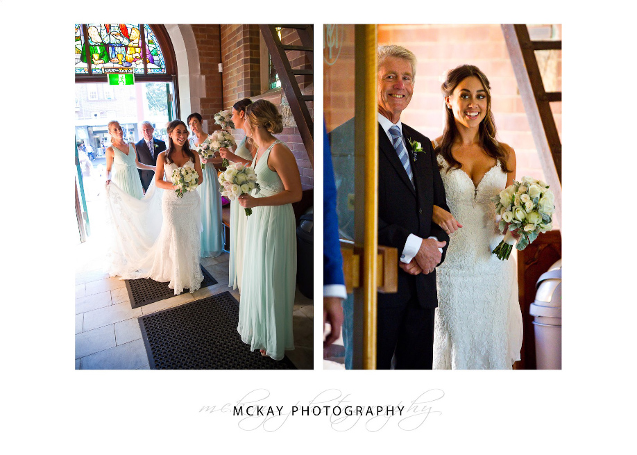 Bride ready to make entrance aisle St Matthews Manly wedding