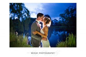 Flash backlit night shot at Briars lake during wedding in Bowral