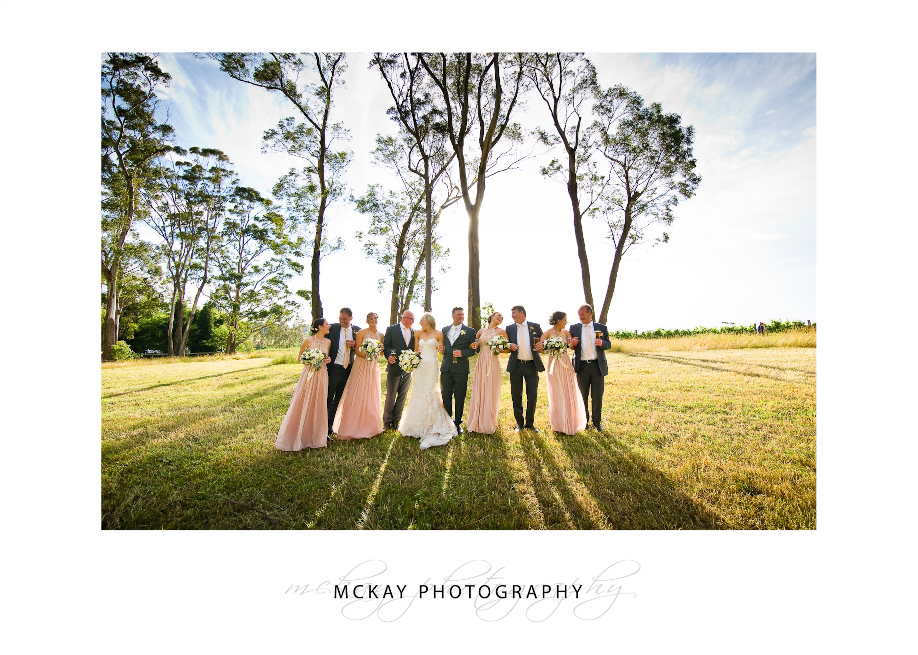 Bridal party photo grass field
