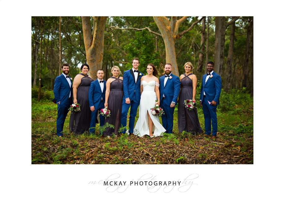 Bridal party gum trees backdrop photo