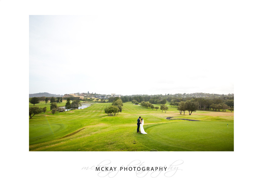 Super wide angle of wedding at Mona Vale Golf Club
