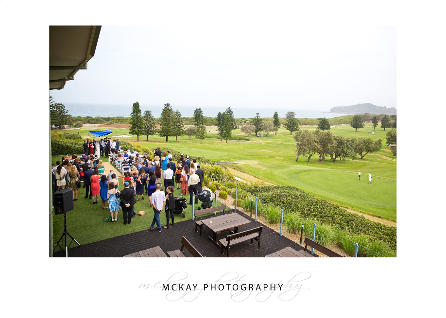 Wide shot of wedding ceremony location Mona Vale Golf Club