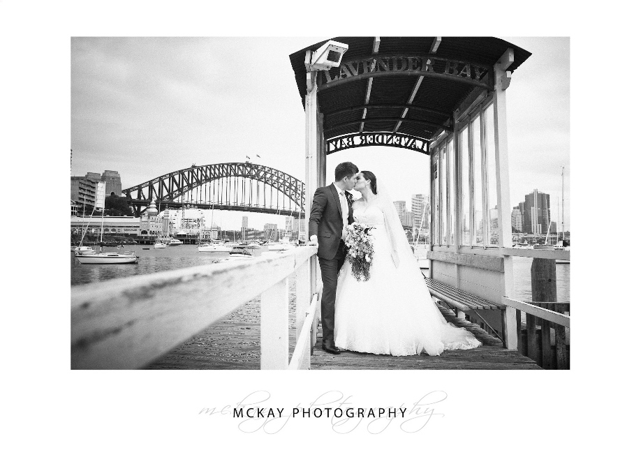 Lavender Bay jetty wedding photo with Harbour Bridge background