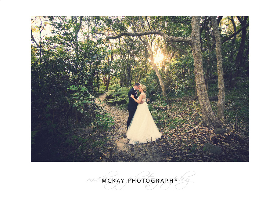 Sunlight through trees wedding photo Gunners Barracks