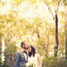 bush bride groom wedding photo