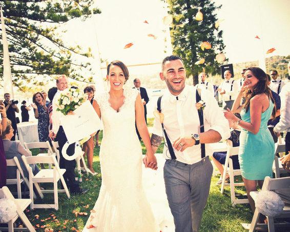 Aisle exit bride groom wedding photographer Bowral