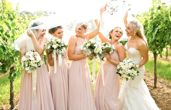 Centennial Vineyards wedding bridesmaids fun photo