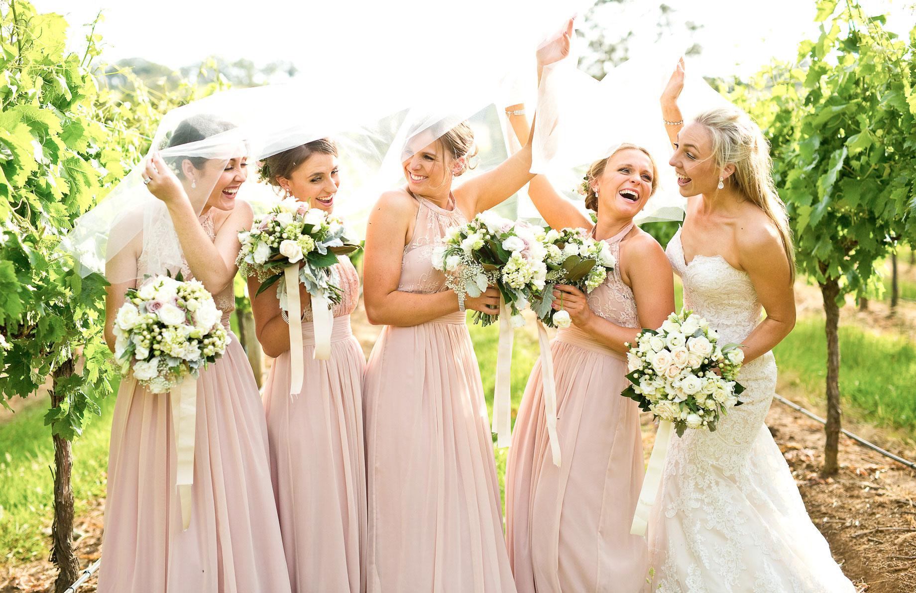 Centennial Vineyards wedding bridesmaids fun photo