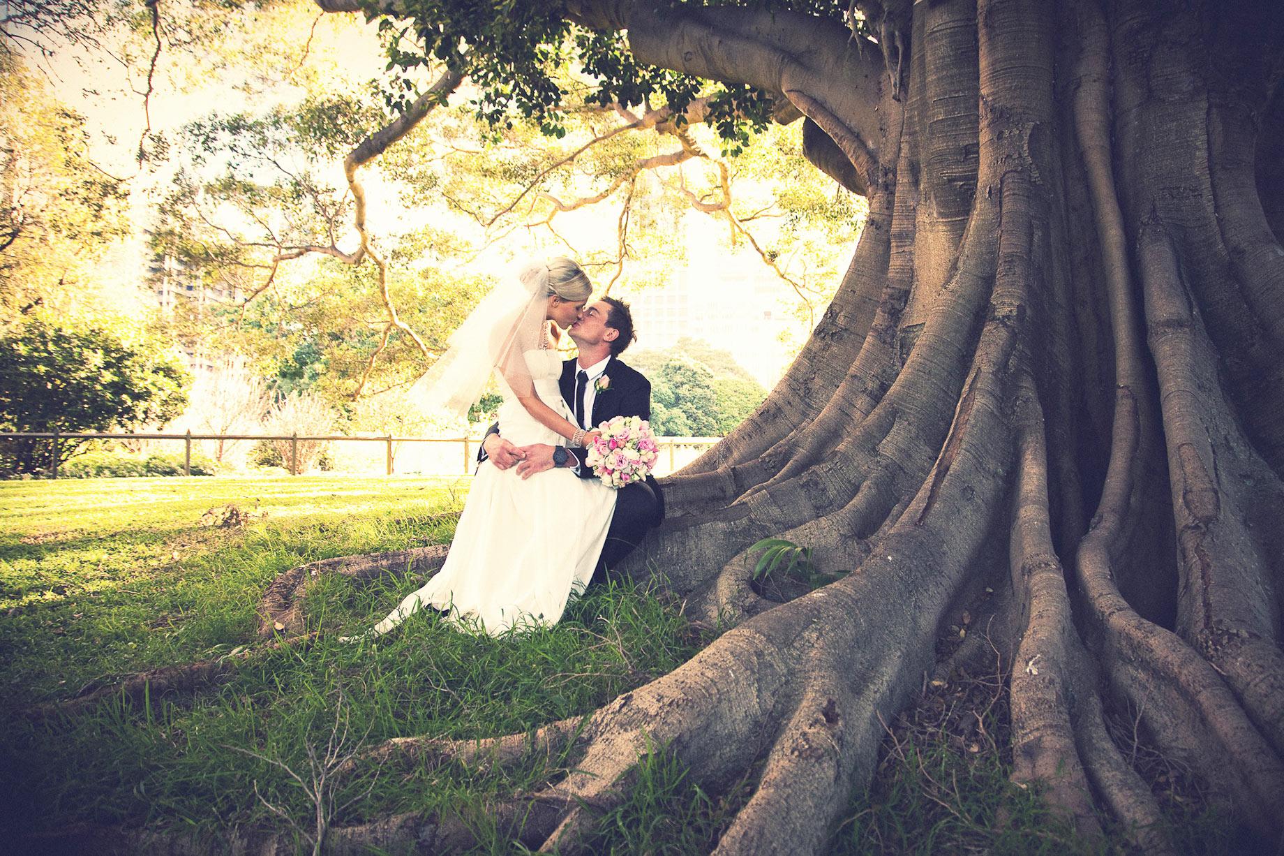 Bride and groom fig tree Botanic Gardens wedding