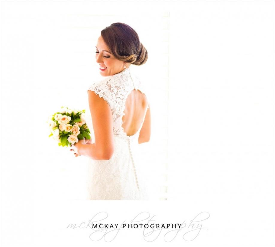 Bride white high key portrait dress back