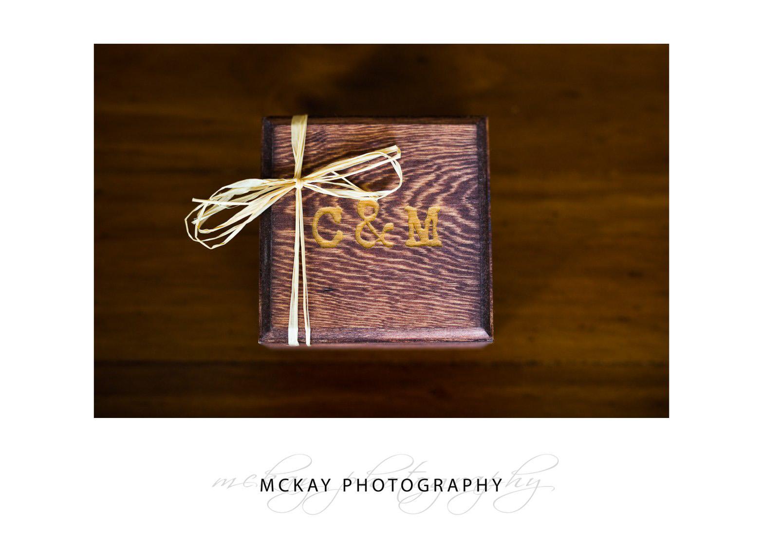 Wedding rings box detail