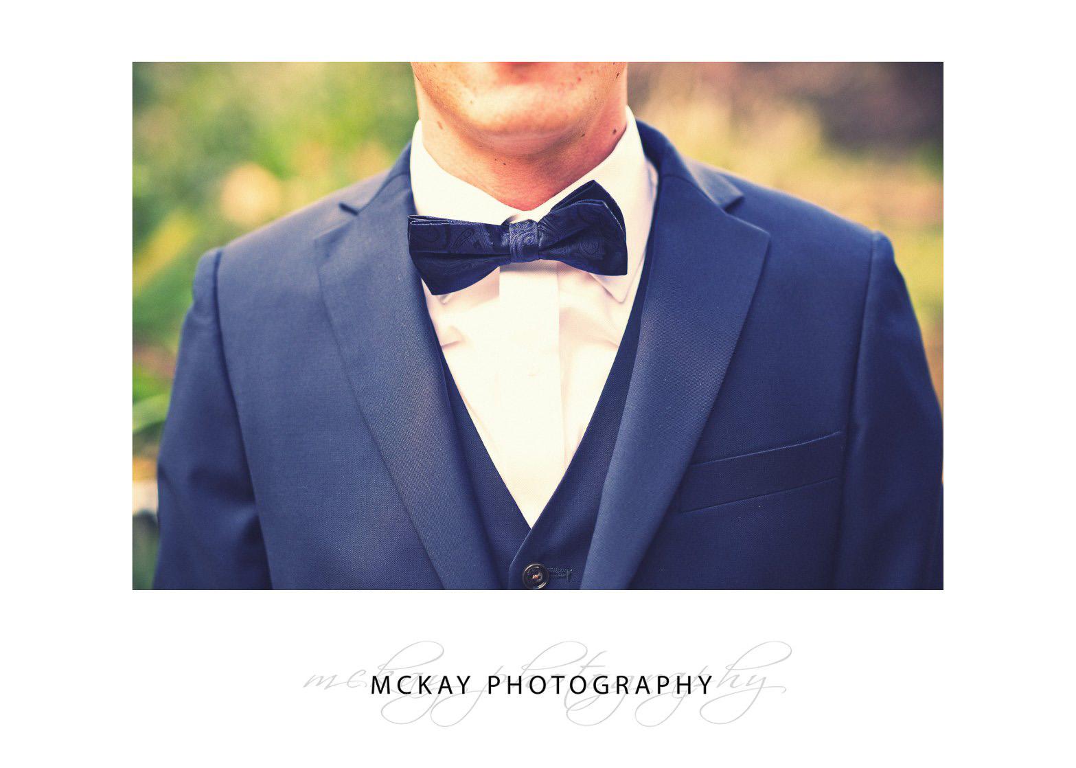 Bow tie groom suit detail