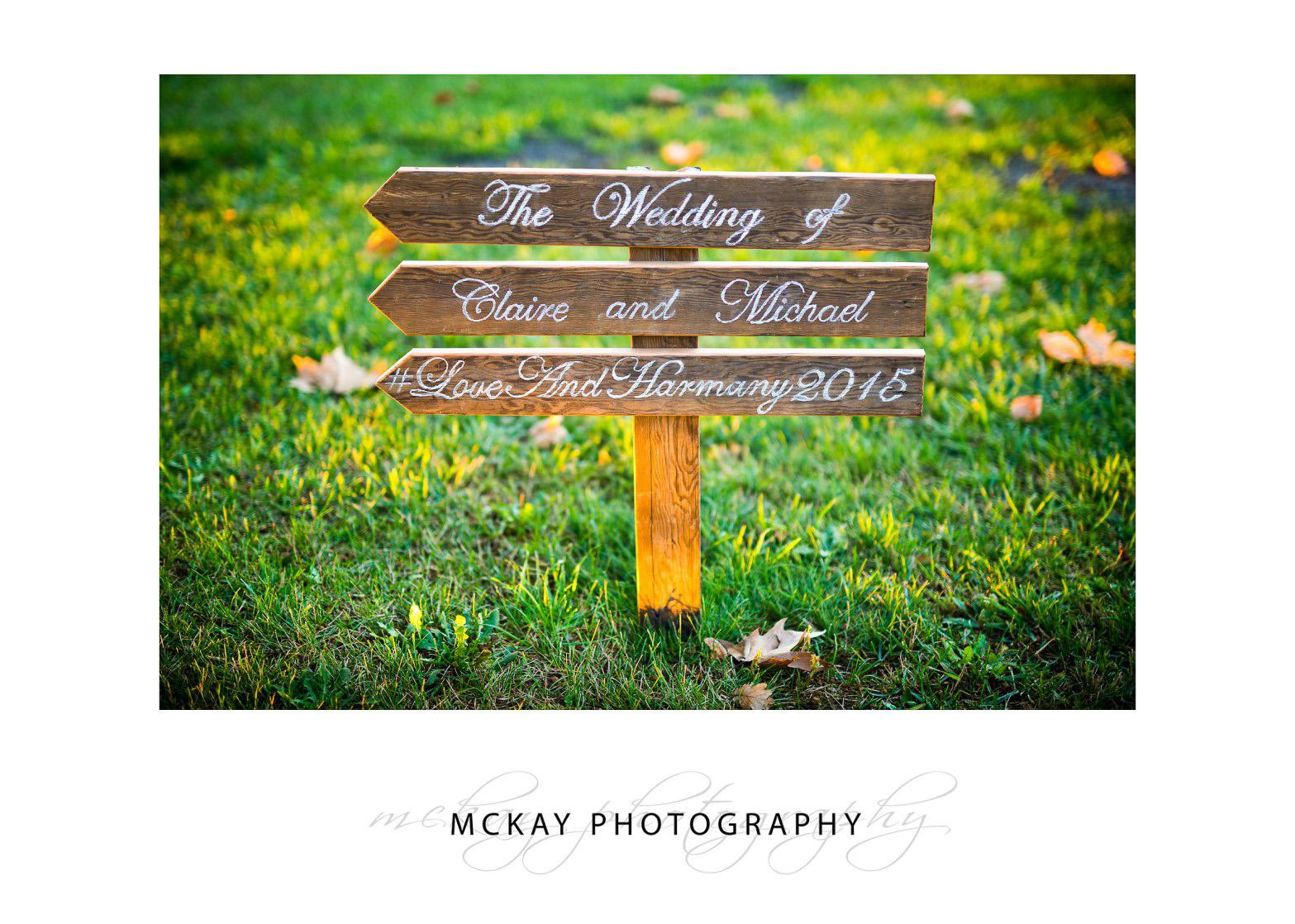 Wedding sign Bendooley Estate