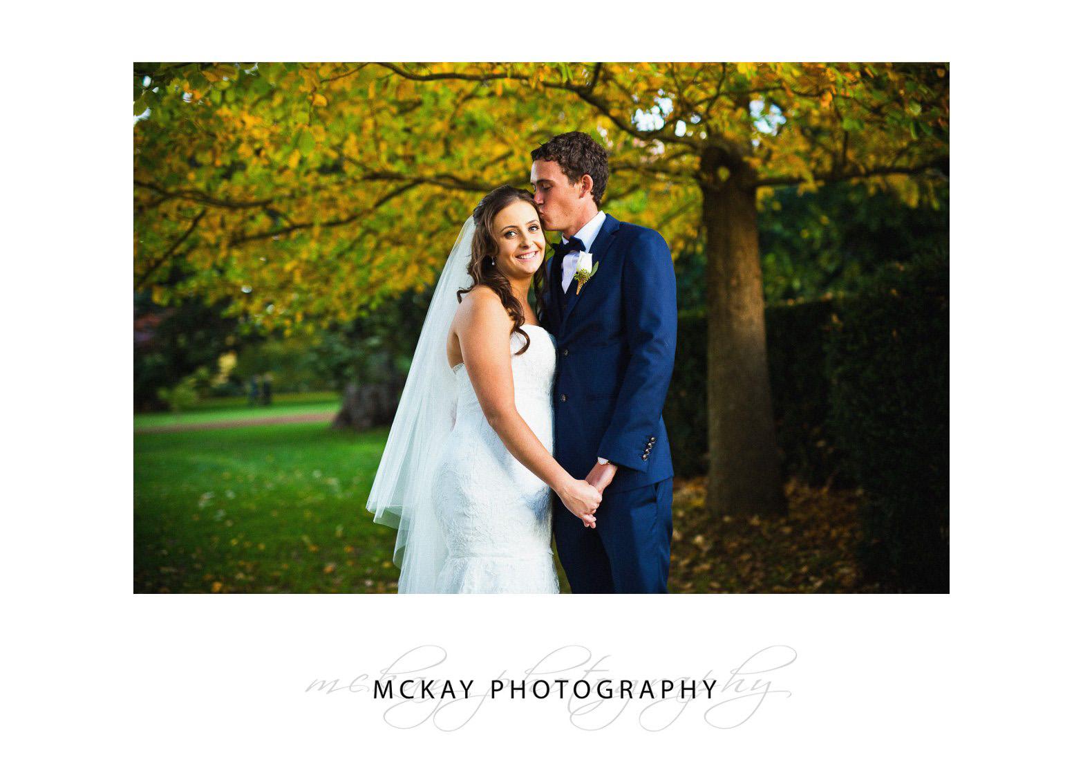 Bride and groom Bowral wedding autumn colour