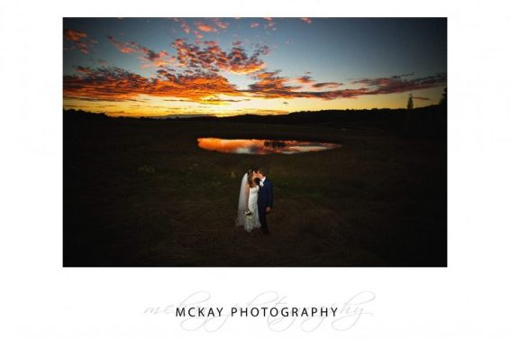 Stunning red sunset at Bendooley Estate wedding autumn