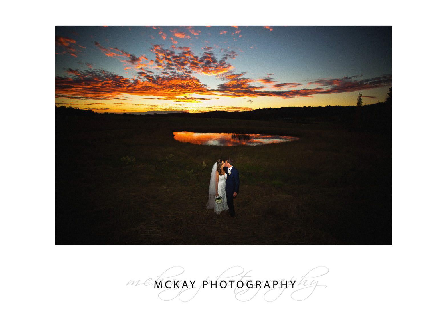 Stunning red sunset at Bendooley Estate wedding autumn