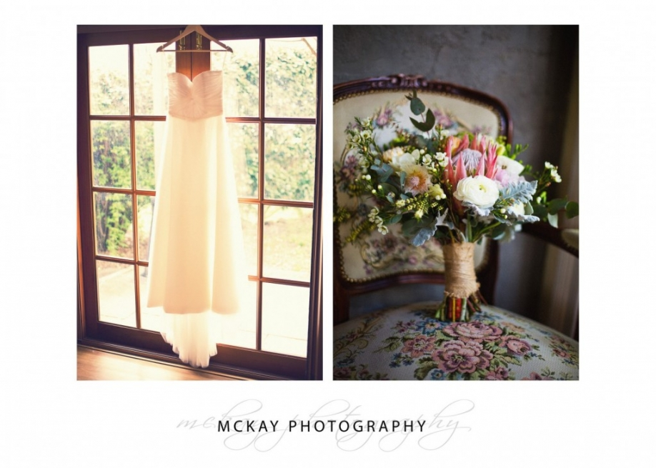 Brides details dress and flowers