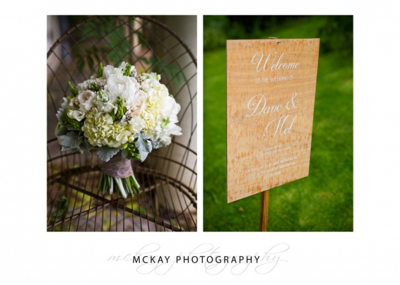 Wedding flowers and sign