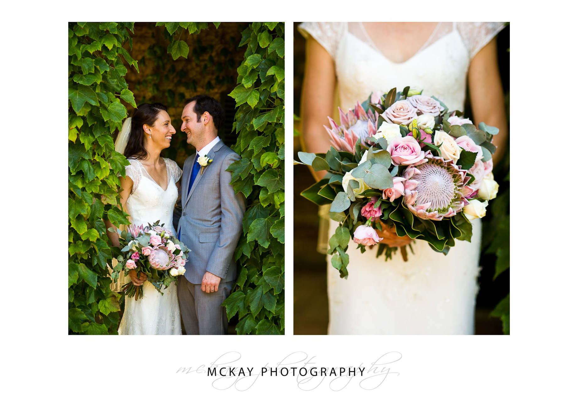 Vines and wedding bouquet