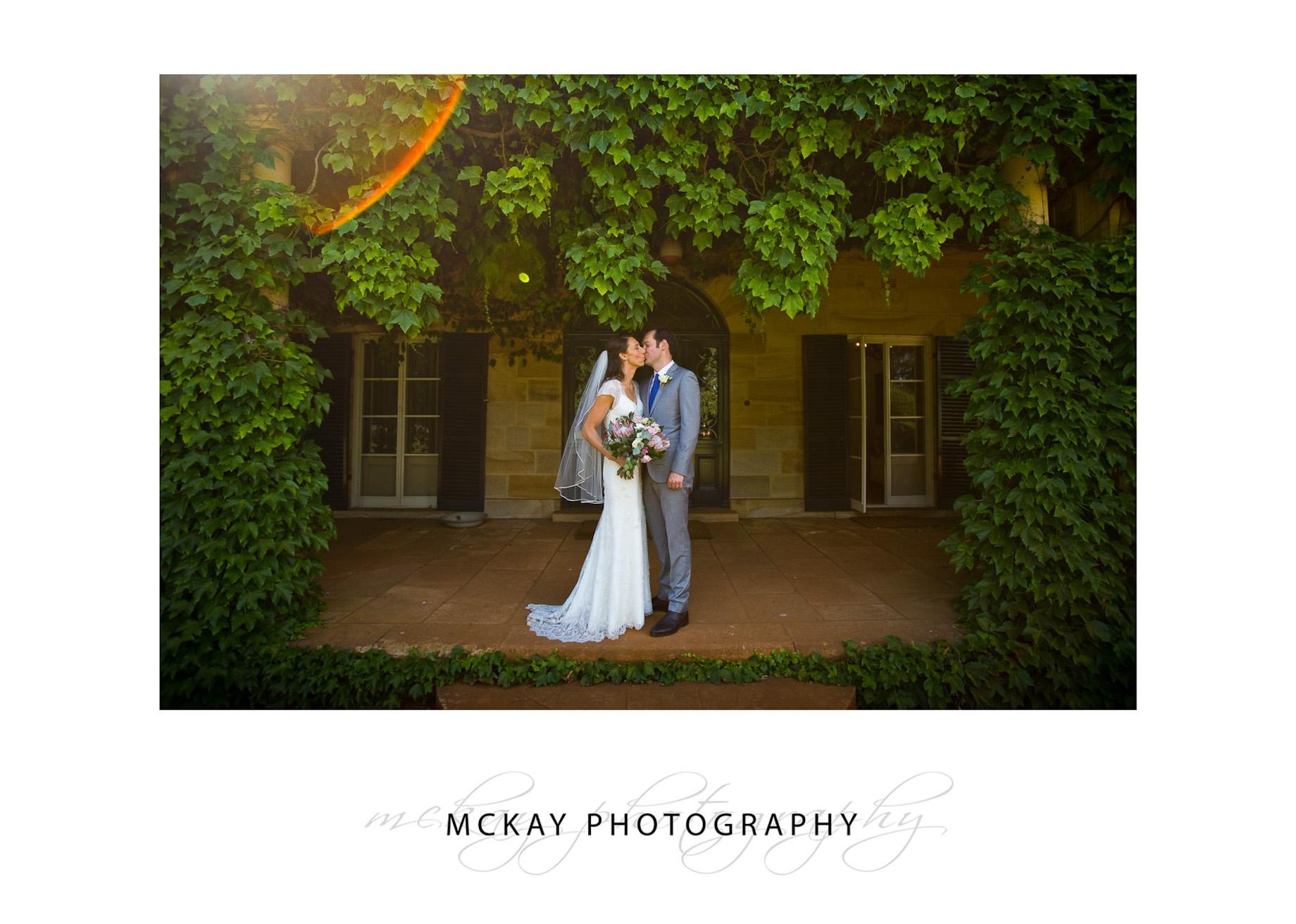 Wedding photo at Bendooley Homestead vines