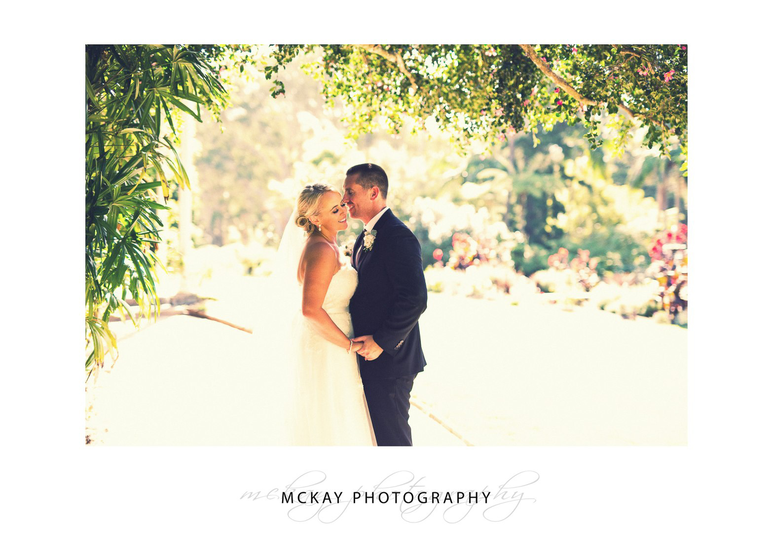 backlit photo of bride and groom at Vaucluse House