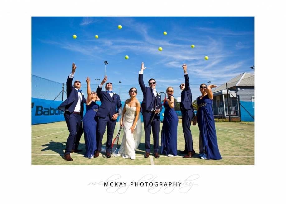 Bridal party tennis balls photo
