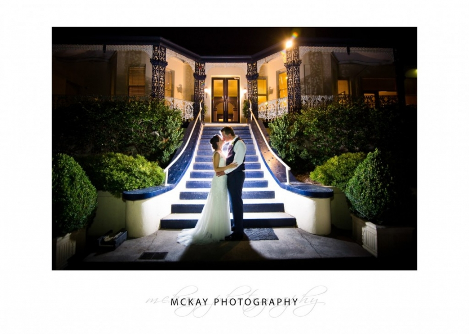 Alissa & Andrew night shot flash wedding at Peppers Craigieburn Bowral
