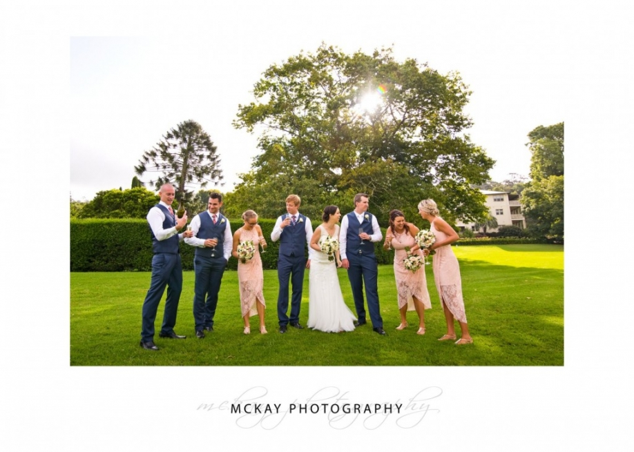 Bridal party drinks in the garden
