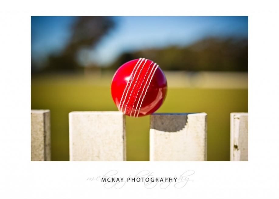 Cricket ball on white fence - commercial photography Bowral