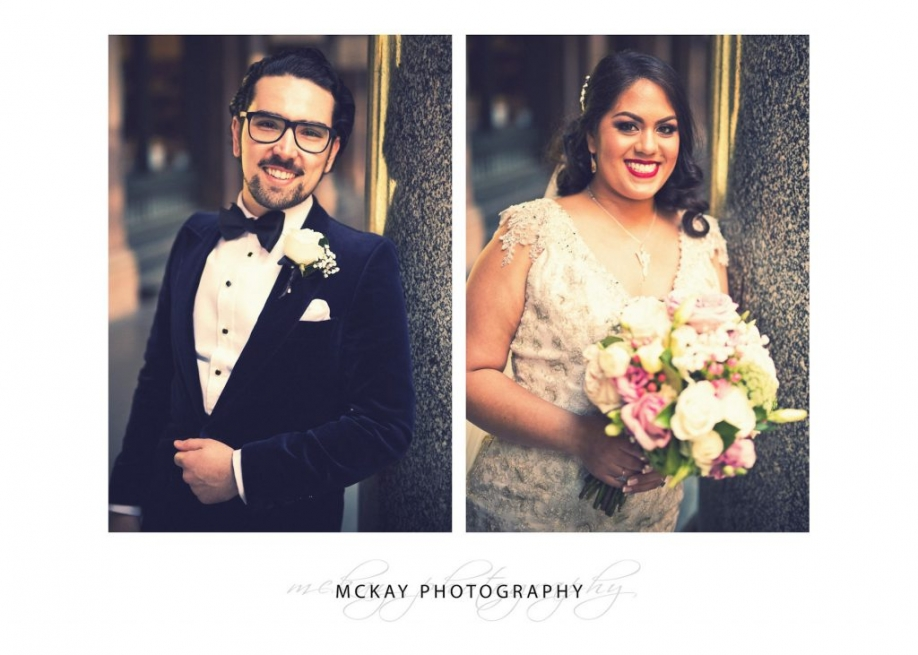 Bride and groom portrait photos Martin Place