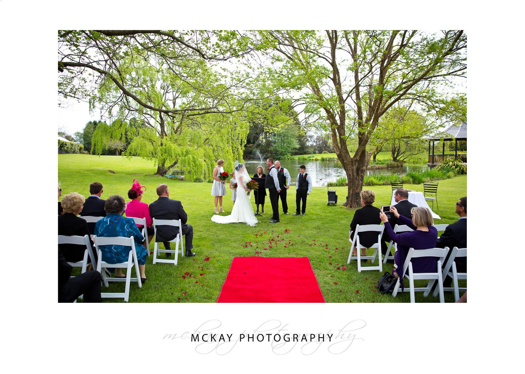 Wedding ceremony at Briars near lake
