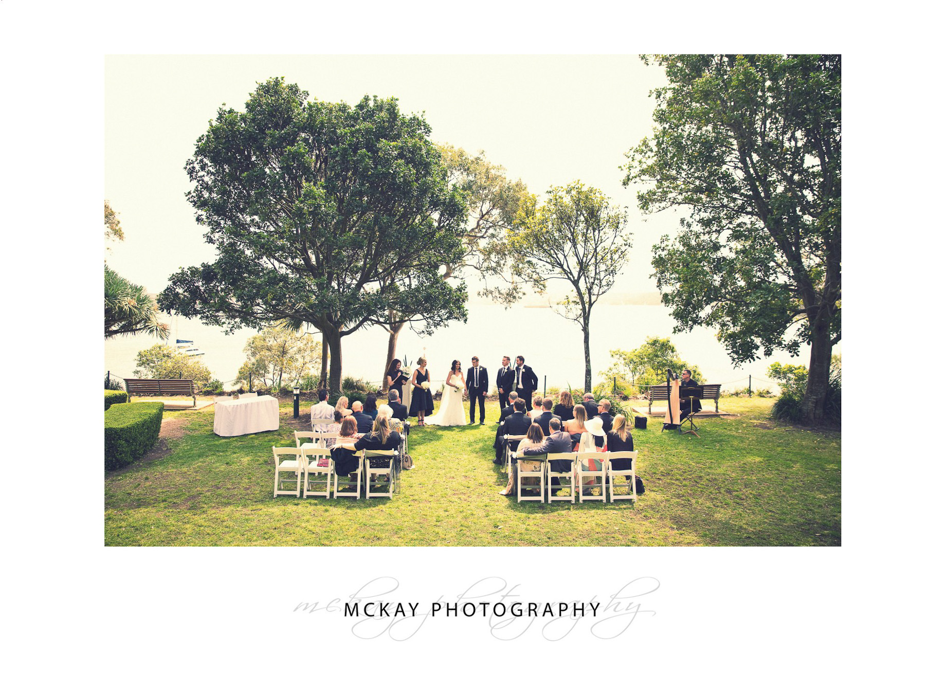Wedding ceremony set up at McKell Park Darling Point